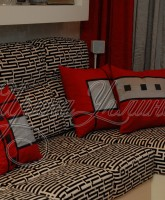 декоративные красные подушки