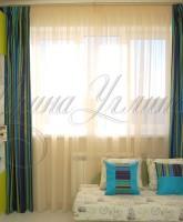 шторы для детской комнаты мальчика в зелено-синей цветовой гамме