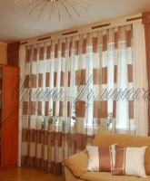 фотография штор для гостинной в коричневых тонах