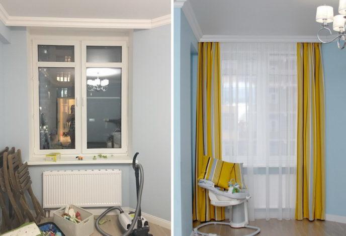 шторы до и после пошива