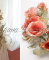 красивый подхват с розами на шторы