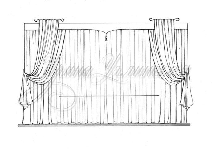 эскиз штор на эркерное окно