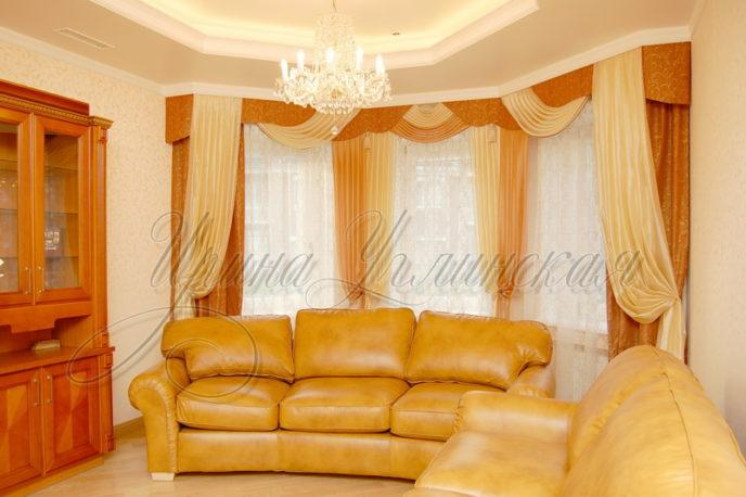 красивые шторы для гостиной, эркерное окно