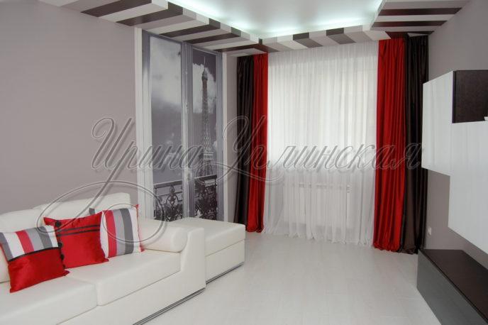 стильные шторы для гостиной черный, серый, белый, красный