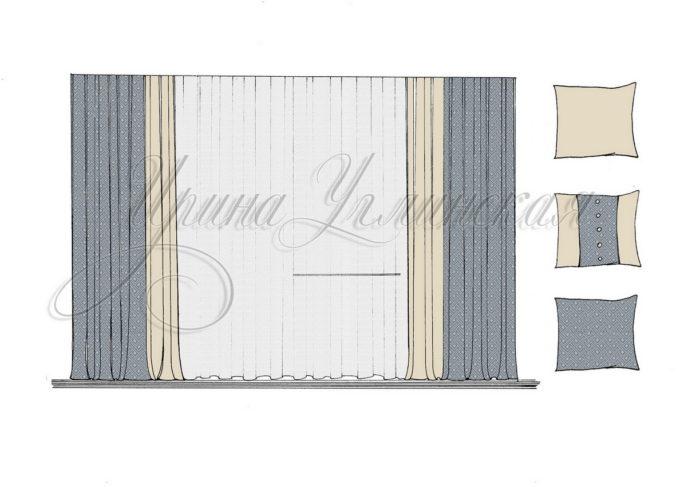 эскиз штор для гостиной